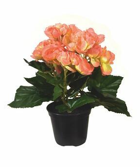 Kunstplant Begonia oranje 20 cm